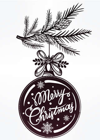 branch isolated: Ormate Christmas greeting card. Vintage card with Christmas ball on a Xmas tree branch. Isolated vector illustration. Illustration