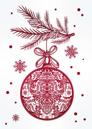traditional christmas: Ormate Christmas greeting card. Vintage card with Christmas ball on a Xmas tree branch. Isolated vector illustration. Illustration