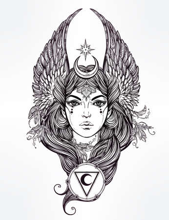 Hand drawn romantic beautiful artwork of astrological Moon and Star planet diety in female form. Alchemy, religion, spirituality, occultism, tattoo art.  Isolated vector illustration. Illustration