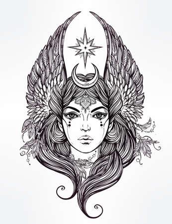 arte greca: Disegno a mano romantico belle opere d'arte di divinità femminile con le stelle e la luna le ali. Alchimia, religione, spiritualità, l'occultismo, l'arte del tatuaggio. Illustrazione vettoriale isolato. Vettoriali