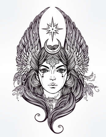 black woman face: Hand drawn romantic beautiful artwork of Female diety with stars wings and moon. Alchemy, religion, spirituality, occultism, tattoo art.  Isolated vector illustration.