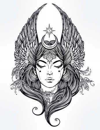 valkyrie: Hand drawn romantic beautiful artwork of Female diety with stars wings and moon. Alchemy, religion, spirituality, occultism, tattoo art.  Isolated vector illustration.