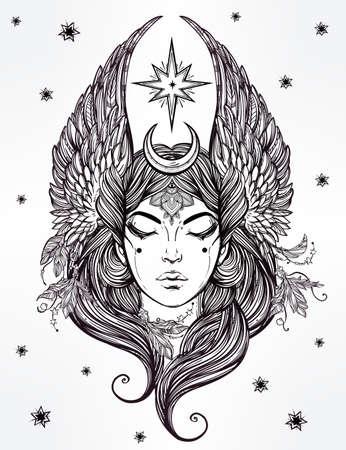 diosa griega: Dibujado a mano romántica hermosa obra de deidad femenina con alas estrellas y la luna. Alquimia, la religión, la espiritualidad, el ocultismo, el arte del tatuaje. Ilustración vectorial aislado.