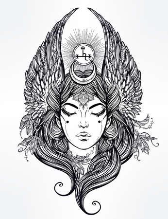 ocultismo: Dibujado a mano rom�ntica hermosa obra del �ngel ca�do Lilith, demonio y Negro Luna planeta en astrolog�a. Alquimia, la religi�n, la espiritualidad, el ocultismo, el arte del tatuaje. Ilustraci�n vectorial aislado. Vectores