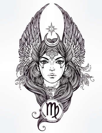 virgo: Dibujado a mano romántica hermosa obra del signo astrológico de Virgo en forma femenina. Del zodiaco, horóscopo, la alquimia, la espiritualidad, el ocultismo, el arte del tatuaje. Ilustración vectorial aislado.