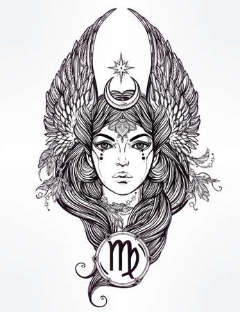 Hand drawn romantic beautiful artwork of astrological Virgo sign in female form. Zodiac, horoscope, alchemy, spirituality, occultism, tattoo art.  Isolated vector illustration.