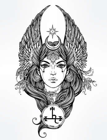 mythological character: Hand drawn romantic beautiful artwork of fallen angel Lilith, demon  and  Black Moon planet in astrology. Alchemy, religion, spirituality, occultism, tattoo art.  Isolated vector illustration.