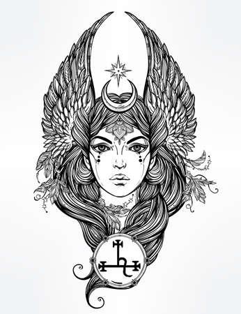 tatouage ange: Tiré par la main romantique belles ?uvres d'art de l'ange déchu Lilith, démon et Black Moon planète en astrologie. Alchimie, la religion, la spiritualité, l'occultisme, l'art du tatouage. Isolated illustration vectorielle.