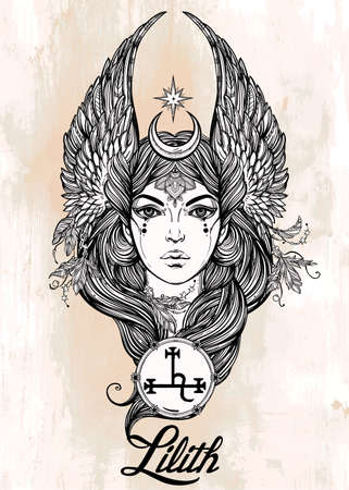 fallen: Hand drawn romantic beautiful artwork of fallen angel Lilith, demon  and  Black Moon planet in astrology. Alchemy, religion, spirituality, occultism, tattoo art.  Isolated vector illustration.
