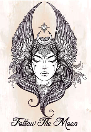 valkyrie: Hand drawn romantic beautiful artwork of astrological Moon and Star planet diety in female form. Alchemy, religion, spirituality, occultism, tattoo art.  Isolated vector illustration. Illustration