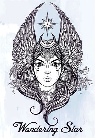 religion: Hand drawn romantic beautiful artwork of astrological Star diety in female form. Alchemy, Tarot, religion, spirituality, occultism, tattoo art.  Isolated vector illustration. Illustration