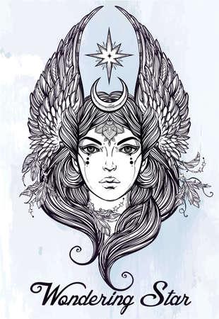 tatouage ange: Tir� par la main romantique belle illustration du astrologique �toile divinit� sous une forme f�minine. Alchemy, Tarot, la religion, la spiritualit�, l'occultisme, l'art du tatouage. Isolated illustration vectorielle. Illustration