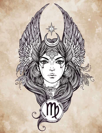 sign in: Hand drawn romantic beautiful artwork of astrological Virgo sign in female form. Zodiac, horoscope, alchemy, spirituality, occultism, tattoo art.  Isolated vector illustration.