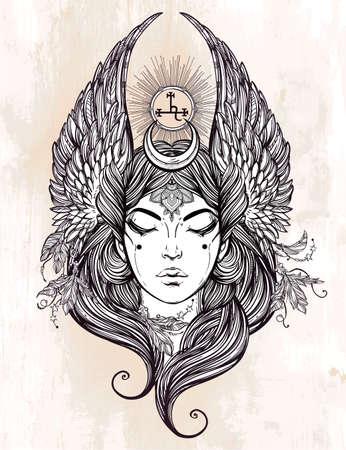 alchemy: Dibujado a mano romántica hermosa obra del ángel caído Lilith, demonio y Negro Luna planeta en astrología. Alquimia, la religión, la espiritualidad, el ocultismo, el arte del tatuaje. Ilustración vectorial aislado. Vectores