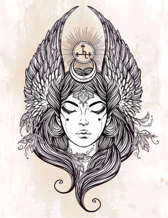 Hand drawn romantic beautiful artwork of fallen angel Lilith, demon  and  Black Moon planet in astrology. Alchemy, religion, spirituality, occultism, tattoo art.  Isolated vector illustration.