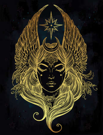 occultism: Hand drawn romantic beautiful artwork of Female diety with stars wings and moon. Alchemy, religion, spirituality, occultism, tattoo art.  Isolated vector illustration.