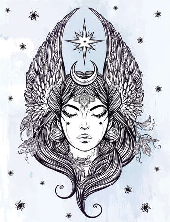 ocultismo: Hand drawn romantic beautiful artwork of Female diety with stars wings and moon. Alchemy, religion, spirituality, occultism, tattoo art.  Isolated vector illustration.
