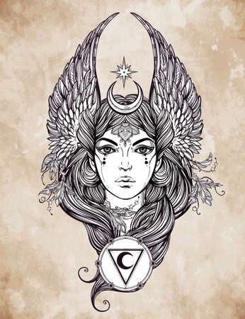 female form: Hand drawn romantic beautiful artwork of astrological Moon and Star planet diety in female form. Alchemy, religion, spirituality, occultism, tattoo art.  Isolated vector illustration. Illustration