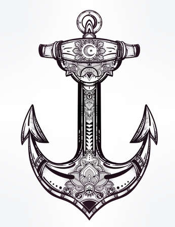 spiritual: Vintage anchor symbol. Highly detailed hand-drawn ornate spiritual element. Isolated vector illustration. Hope, sea, spirit.