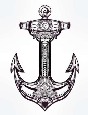 tatouage: Vintage symbole d'ancrage. Très détaillé dessinée à la main orné élément spirituel. Isolated illustration vectorielle. Espoir, la mer, l'esprit.