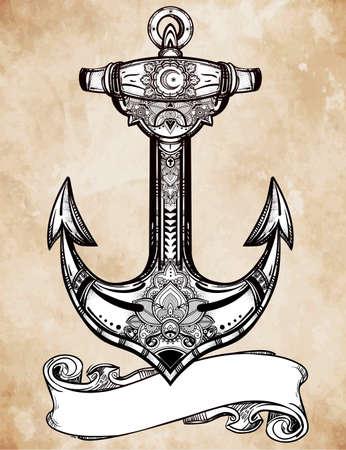 ancla: S�mbolo de ancla de la vendimia. Muy detallada mano dibujado elemento espiritual adornado. Ilustraci�n vectorial aislado. La esperanza, el mar, el esp�ritu. Vectores