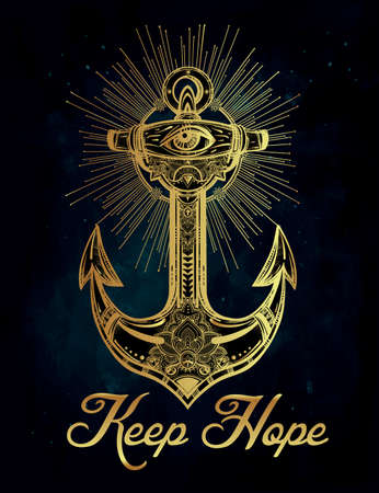 anchor drawing: Vintage anchor symbol. Highly detailed hand-drawn ornate spiritual element. Isolated vector illustration. Hope, sea, spirit.