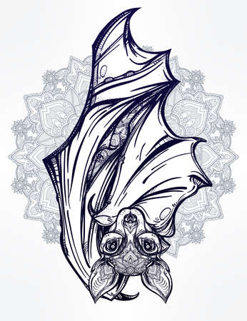 nocturnal: Ornate nocturnal bat with mandala. Design tattoo art. Isolated vector illustration. Trendy Vintage style element. Illustration