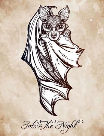 muerte: Murci�lago nocturno adornado. Dise�o arte del tatuaje. Ilustraci�n vectorial aislado. Elemento de estilo vintage de moda. Vectores
