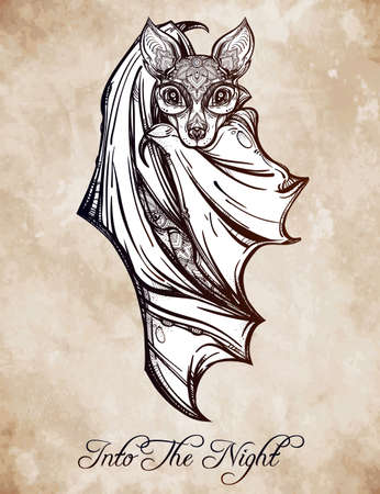 death: Ornate nocturnal bat. Design tattoo art. Isolated vector illustration. Trendy Vintage style element. Illustration