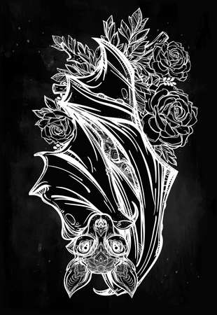 nocturnal: Ornate nocturnal bat with roses. Design tattoo art. Isolated vector illustration. Trendy Vintage style element.