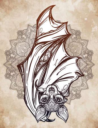 nocturnal: Ornate nocturnal bat with mandala. Design tattoo art. Isolated vector illustration. Trendy Vintage style element. Illustration