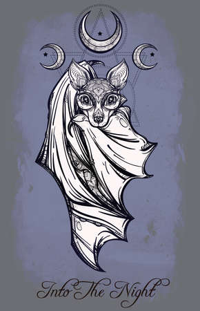 nocturnal: Ornate nocturnal bat with moons. Design tattoo art. Isolated vector illustration. Trendy Vintage style element. Illustration