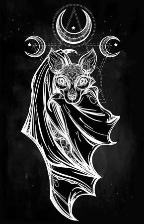 moons: Ornate nocturnal bat with moons. Design tattoo art. Isolated vector illustration. Trendy Vintage style element. Illustration