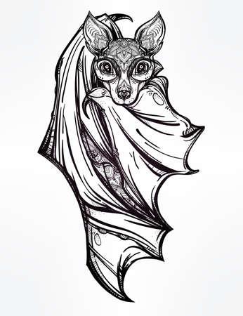 muerte: Murciélago nocturno adornado. Diseño arte del tatuaje. Ilustración vectorial aislado. Elemento de estilo vintage de moda. Vectores