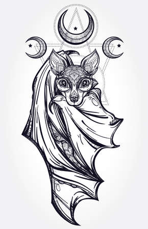 muerte: Murciélago nocturno adornado con lunas. Diseño arte del tatuaje. Ilustración vectorial aislado. Elemento de estilo vintage de moda.