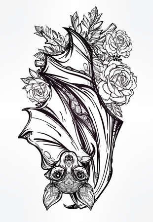 murcielago: Murciélago nocturno adornado con rosas. Diseño arte del tatuaje. Ilustración vectorial aislado. Elemento de estilo vintage de moda.