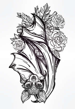 vampire bats: Ornate nocturnal bat with roses. Design tattoo art. Isolated vector illustration. Trendy Vintage style element.