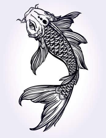 armonia: Dibujado a mano la línea de arte hermosa romántica de peces Koi carpa - símbolo o armonía y sabiduría. Ilustración vectorial aislado. El arte espiritual. Ideal para el arte del tatuaje, libros para colorear.