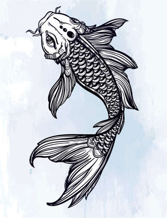 carp fish: Hand drawn romantic beautiful line art of fish Koi carp - symbol or harmony and wisdom. Vector illustration isolated. Spiritual art. Ideal for tattoo art, coloring books.