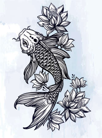 koi: Hand drawn romantic beautiful fish Koi carp with flowers - symbol of harmony, wisdom. Vector illustration isolated. Spiritual art for tattoo, coloring books. Beautifully detailed, serene.