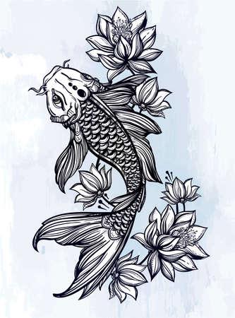 tattoos: Hand drawn romantic beautiful fish Koi carp with flowers - symbol of harmony, wisdom. Vector illustration isolated. Spiritual art for tattoo, coloring books. Beautifully detailed, serene.