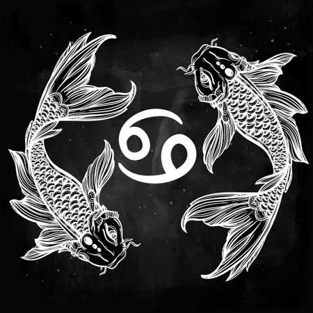 mystic: Hand drawn romantic beautiful line art of zodiac Pisces. Vector illustration isolated. Ethnic design, mystic horoscope symbol for your use. Ideal for tattoo art, coloring books. Sea spirit.
