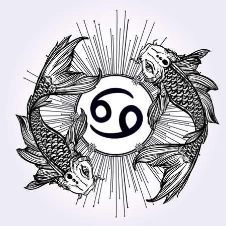 tatouage: Tir� par la main belle art romantique de ligne de Zodiaque. Vector illustration isol�. Conception ethnique, symbole de horoscope mystique pour votre usage. Id�al pour l'art du tatouage, livres � colorier. L'esprit de la mer.