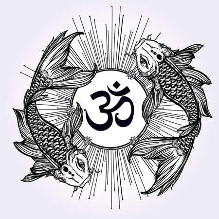 carpa: Dibujado a mano la l�nea de arte hermosa rom�ntica de la carpa de Koi peces con un cartel Ohm brillando - s�mbolo de la armon�a y la sabidur�a. Ilustraci�n vectorial aislado. El arte espiritual. Ideal para el arte del tatuaje, libros para colorear.