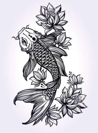 peces: Dibujado a mano rom�ntico hermoso pez Koi carpa con flores - s�mbolo de la armon�a, sabidur�a. Ilustraci�n vectorial aislado. El arte espiritual de los libros tatuaje, colorantes. Bellamente detallada, sereno.