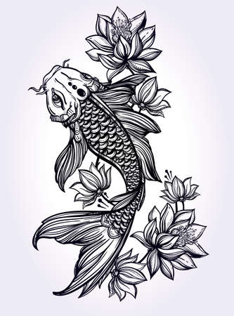 spiritual background: Hand drawn romantic beautiful fish Koi carp with flowers - symbol of harmony, wisdom. Vector illustration isolated. Spiritual art for tattoo, coloring books. Beautifully detailed, serene.