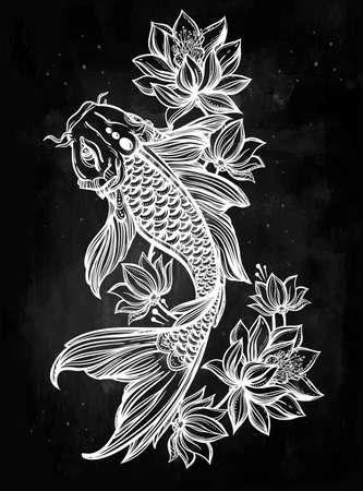 JAPON: Tiré par la main romantique belle carpes Koi de poissons avec des fleurs - symbole d'harmonie, la sagesse. Vector illustration isolé. L'art spirituel pour les livres tatouage, colorants. Magnifiquement détaillée, serein.