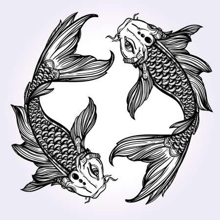 armonía: Dibujado a mano la línea de arte hermosa romántica de peces Koi carpa - símbolo o armonía y sabiduría. Ilustración vectorial aislado. El arte espiritual. Ideal para el arte del tatuaje, libros para colorear.