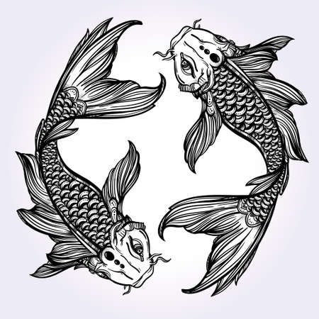 tattoo drawings: Hand drawn romantic beautiful line art of fish Koi carp - symbol or harmony and wisdom. Vector illustration isolated. Spiritual art. Ideal for tattoo art, coloring books.