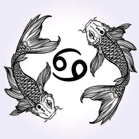 koi: Hand drawn romantic beautiful line art of zodiac Pisces. Vector illustration isolated. Ethnic design, mystic horoscope symbol for your use. Ideal for tattoo art, coloring books. Sea spirit.